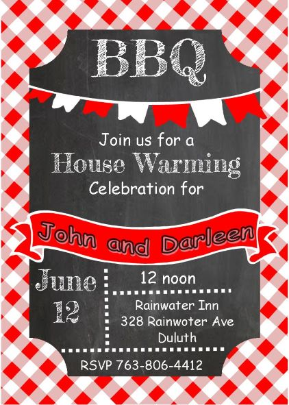 Chalkboard and red cloth - Housewarming Party Invitations
