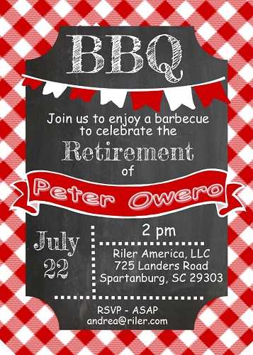 Retirement party invitations custom designed new for fall 2018 chalkboard and picnic cloth retirement bbq party invitations stopboris Images