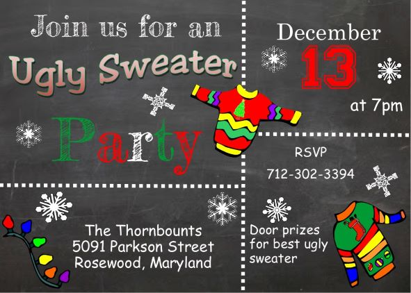 ugly sweater chalkboard christmas party invitations
