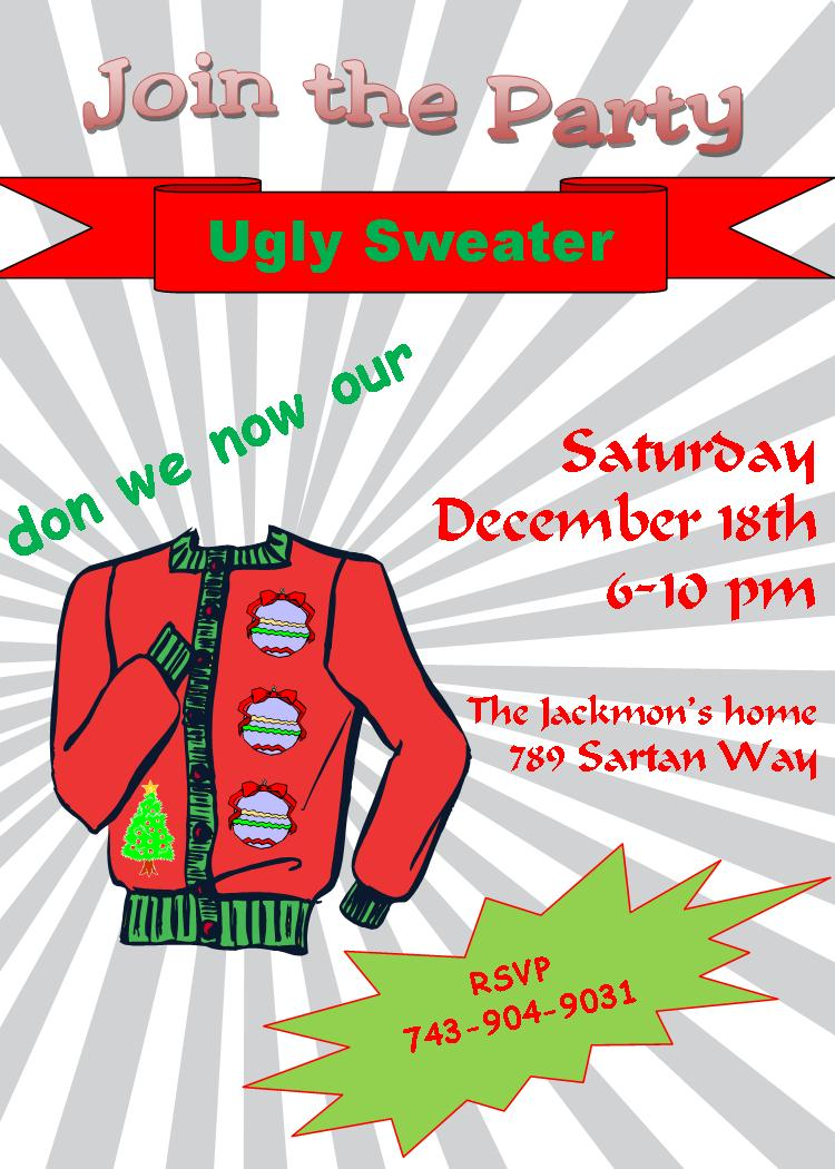 ugly sweater christmas party invitations new for, Party invitations