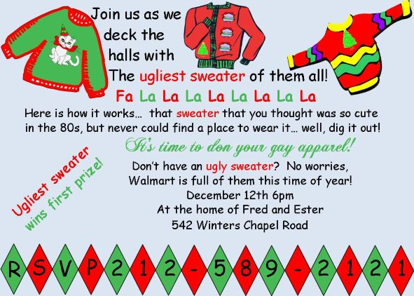 ugly sweater christmas party invitations new for  ugly sweater chalkboard christmas party invitations