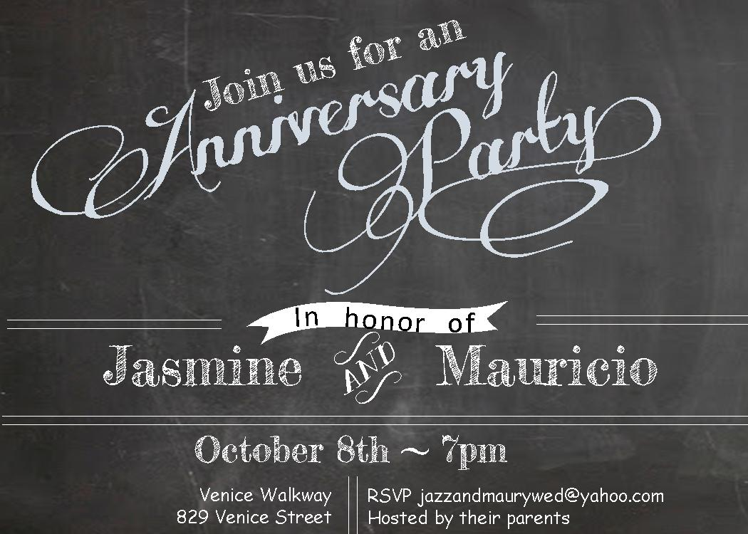 Anniversary party invitations new selections summer 2018 chalkboard anniversary party invitations stopboris Image collections