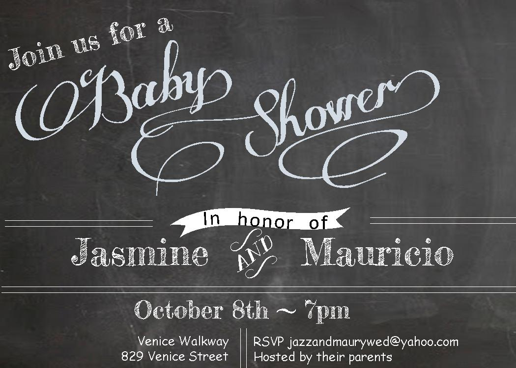 chalkboard baby boy shower invitations