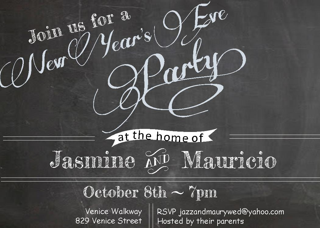 chalkboard new years eve party invitations