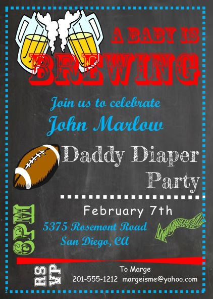 Daddy Diaper Party Invitations Chalkboard Boy Baby Shower