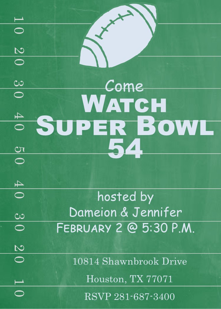 picture regarding Super Bowl Party Invitations Free Printable known as Tremendous Bowl Occasion Invites 2019- Soccer