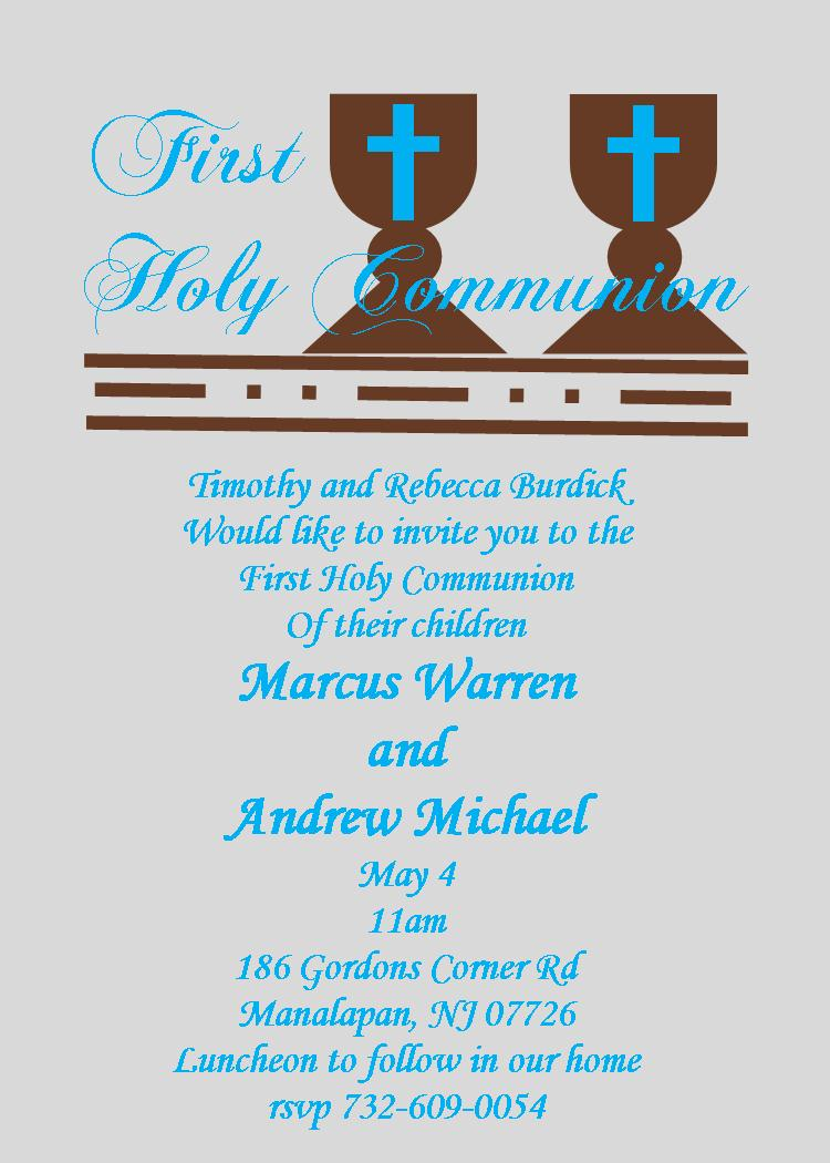 First communion party invitations new designs for 2018 twins communion invitations stopboris Gallery