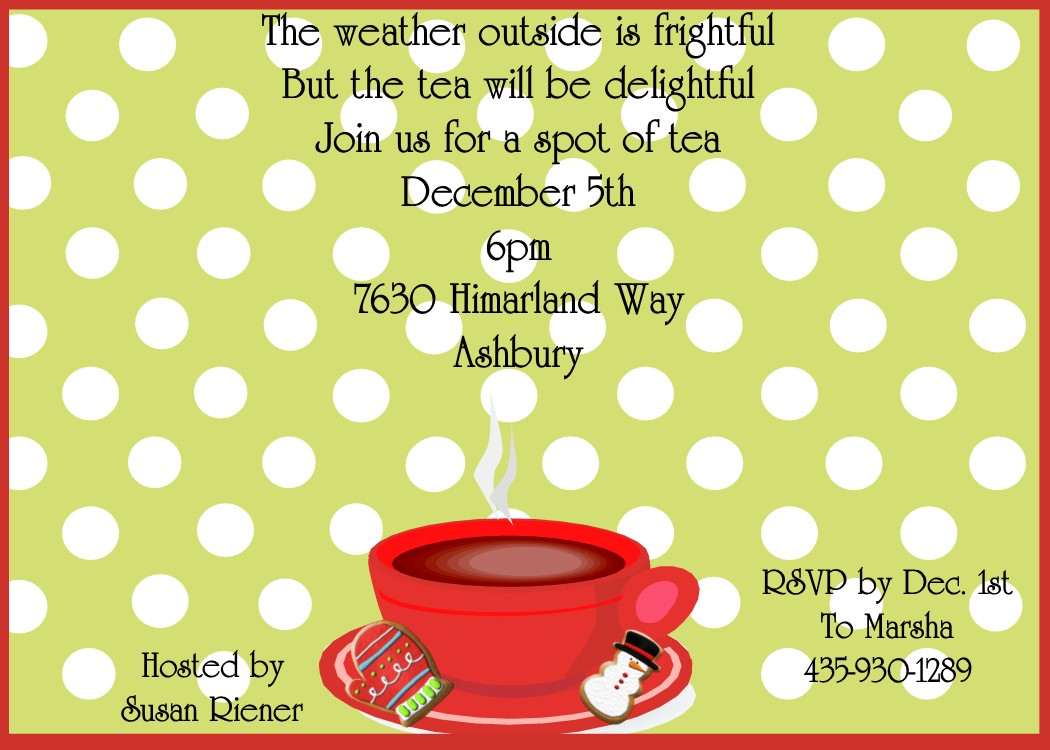 Christmas Tea Party Invitations 2018