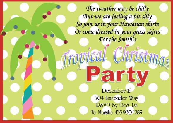 Christmas Holiday Tropical Party Invitations 201 – Hawaiian Theme Party Invitations