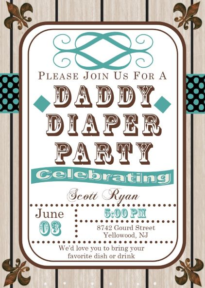 Daddy Diaper Party Invitations NEW selections winter 2018