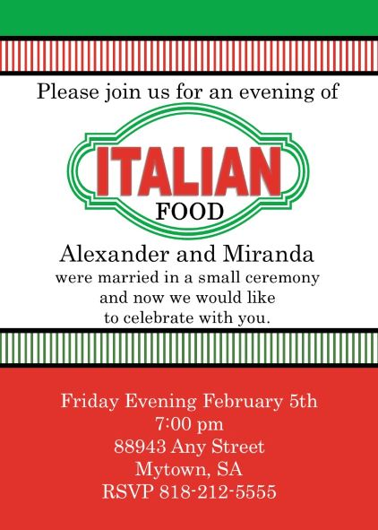 Italian Theme Party Invitations NEW selections Fall 2018
