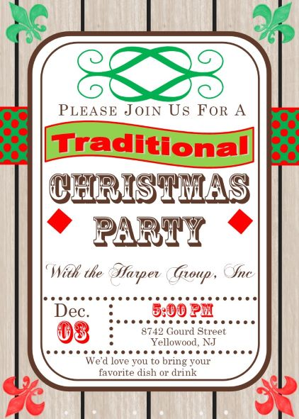 Traditional Company Christmas Party Invitations