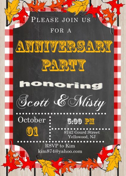 Anniversary party invitations new selections fall 2018 chalkboard and picnic cloth anniversary bbq party invitations stopboris
