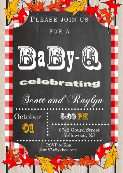 Baby coed BBQ Fall Shower Invitations
