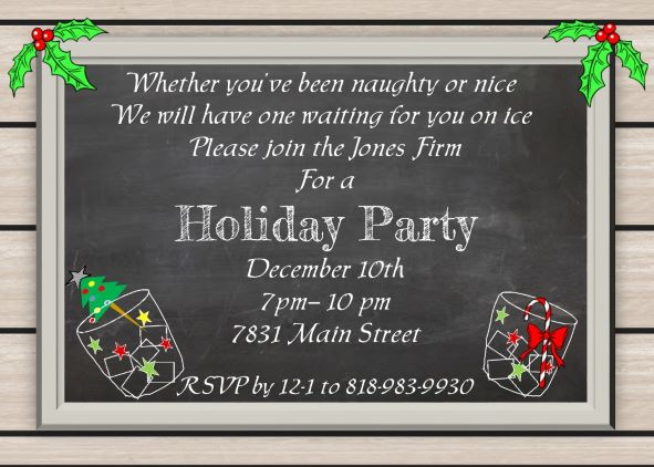 chalkboard on wood grain engagement Christmas Party Invitations
