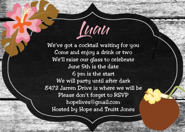 b814cefa18c4 luau party invitation with tropical drink and flip flops