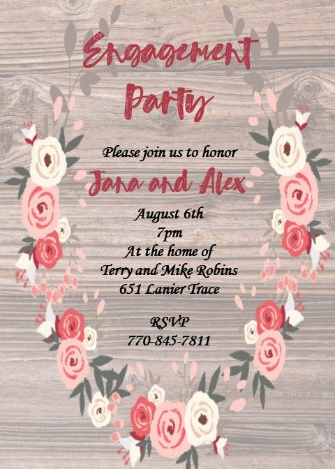 Wood and wreath Elope Party Invitations