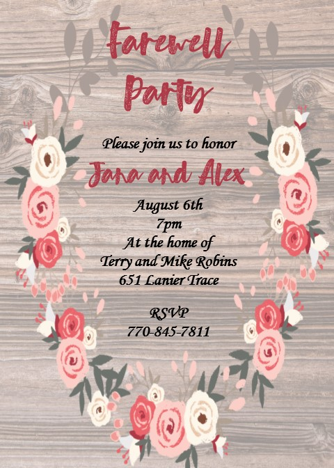 Going Away Party Invitations New Selections Fall 2018