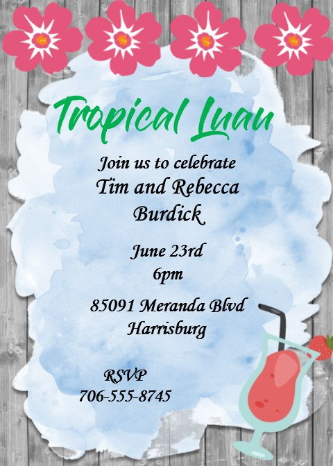 Luau party invitations tropical beach party summer 2018 luau party invitation on woodgrain background with watercolor and flowers stopboris Gallery