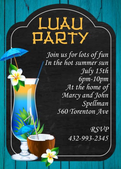 Luau, Tropical, and Beach Party Invitations NEW selections winter 2018