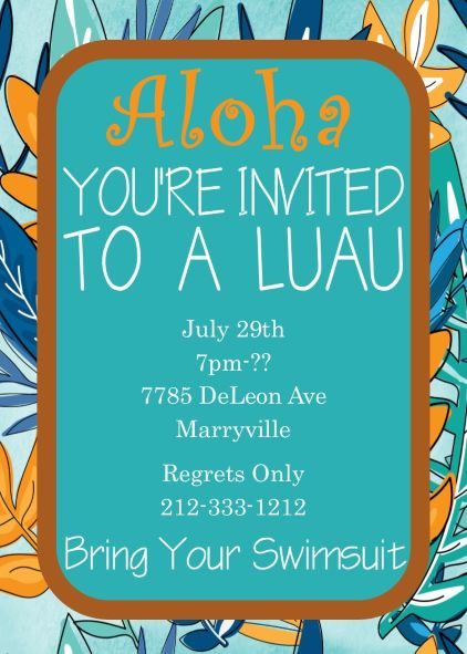Luau Party Invitations | Tropical & Beach Party Summer 2018 ...