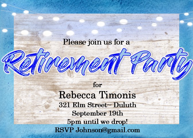 retirement wood background party invitations