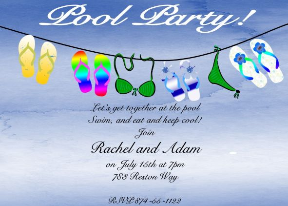 Pool Party Invitations NEW selections Winter 2017 – Swim Party Invitation