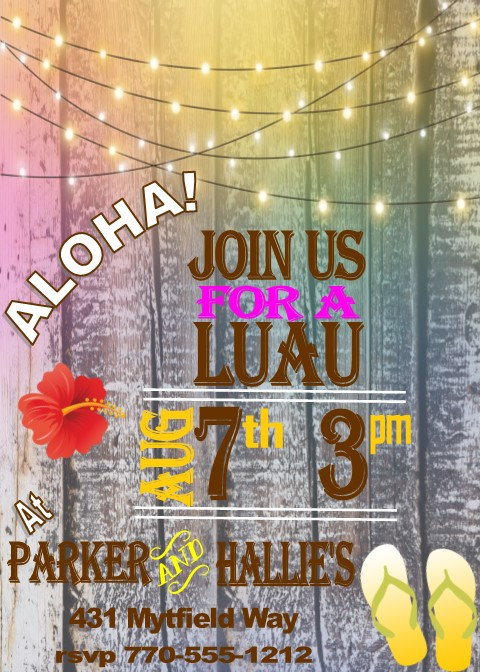 Ride The Wave Luau Party Invitation