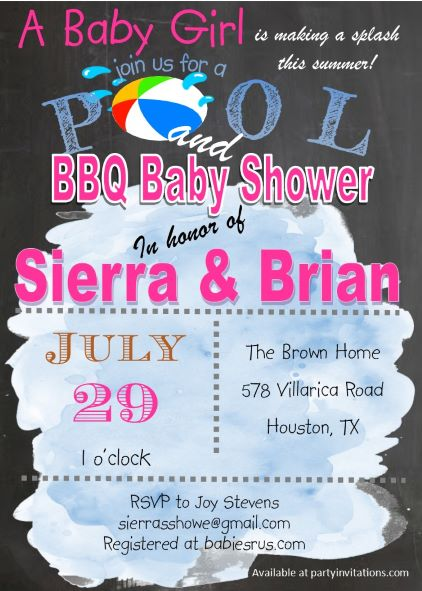 pool and bbq baby shower invitations