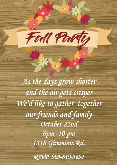 fall and autumn party invitations 2017