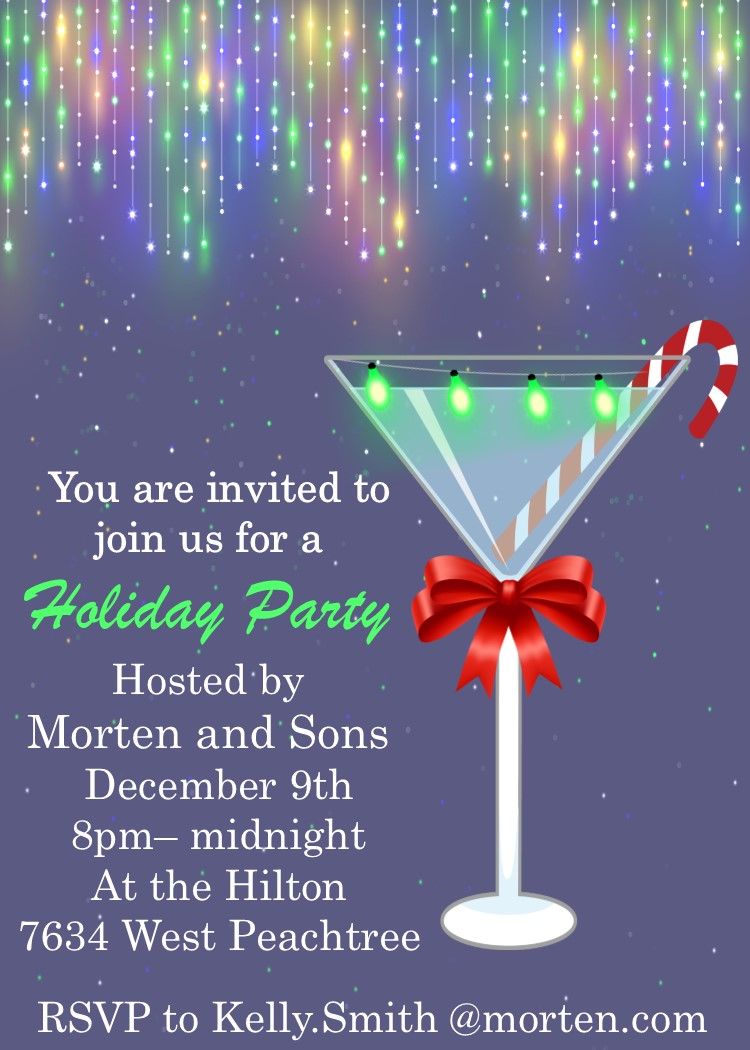 tie one on cocktail christmas party invitations