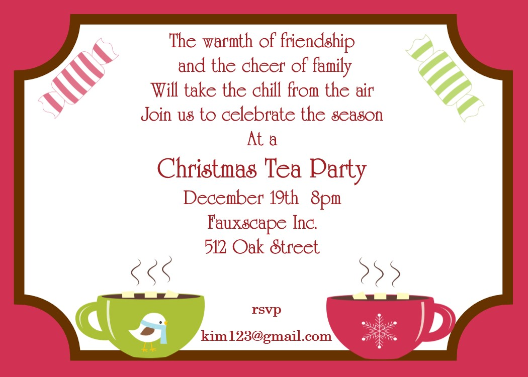 Christmas Tea Party Invitations 2017 – Xmas Party Invitations