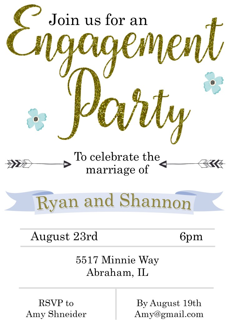 Glitter Engagement Party Invitations