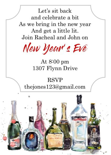 stocked bar new years eve party invitations