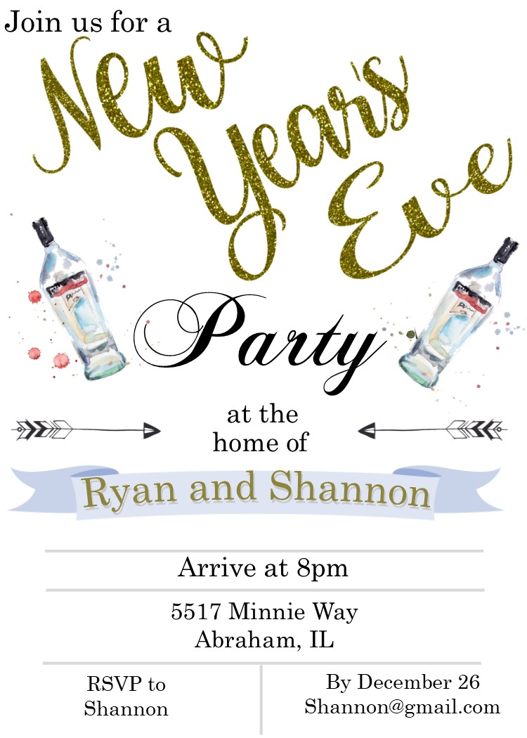 sparkly new years eve party invitations