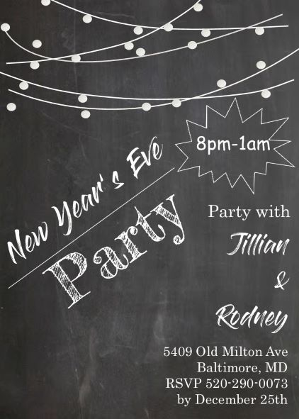 Chalkboard And Lights New Years Eve Party Invitations
