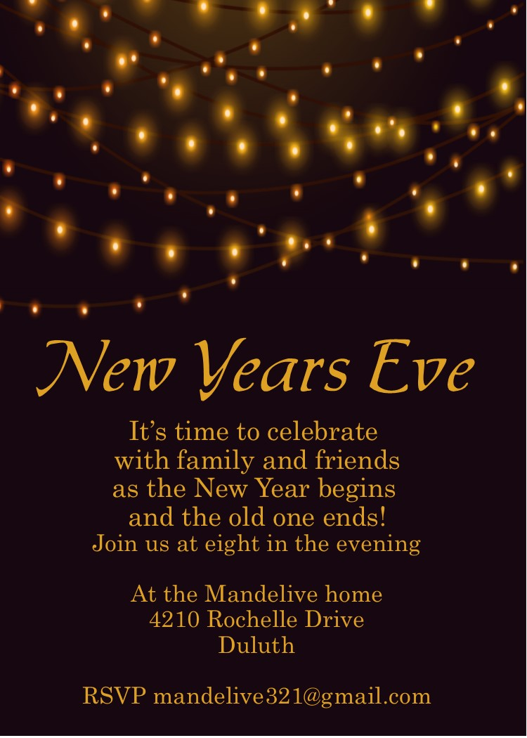 Golden Lights New Years Eve Party Invitations