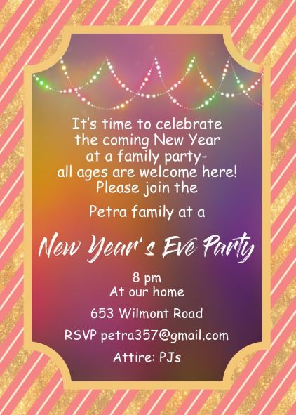 family new years eve party invitations