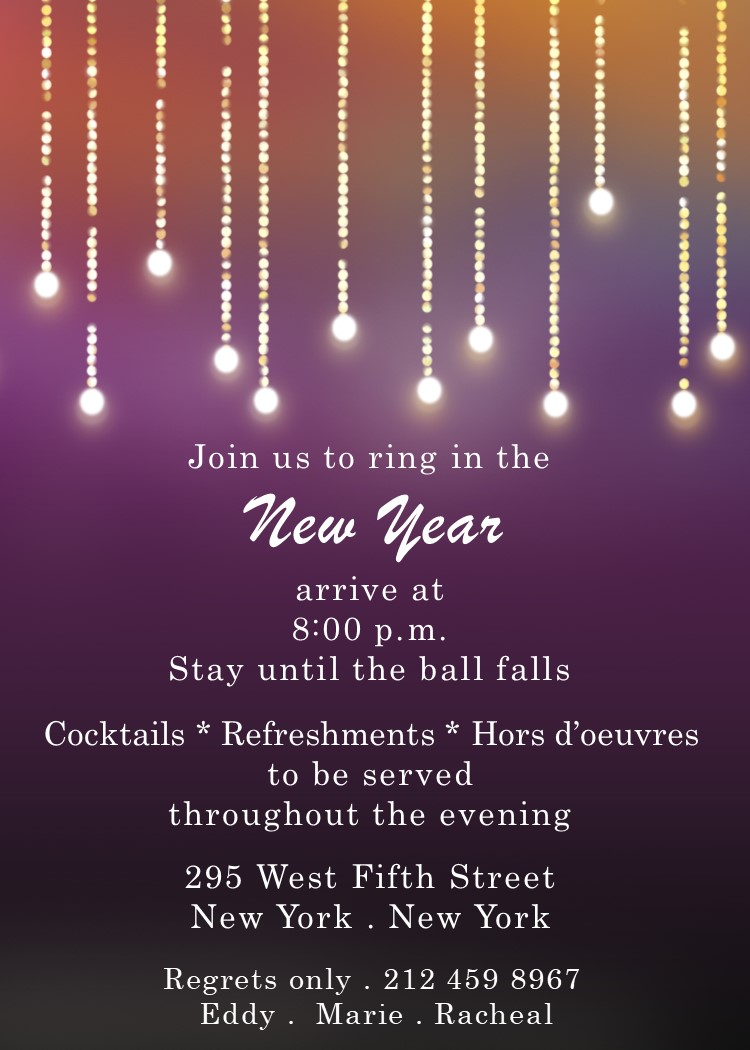 Light Drops New Years Eve Party Invitations