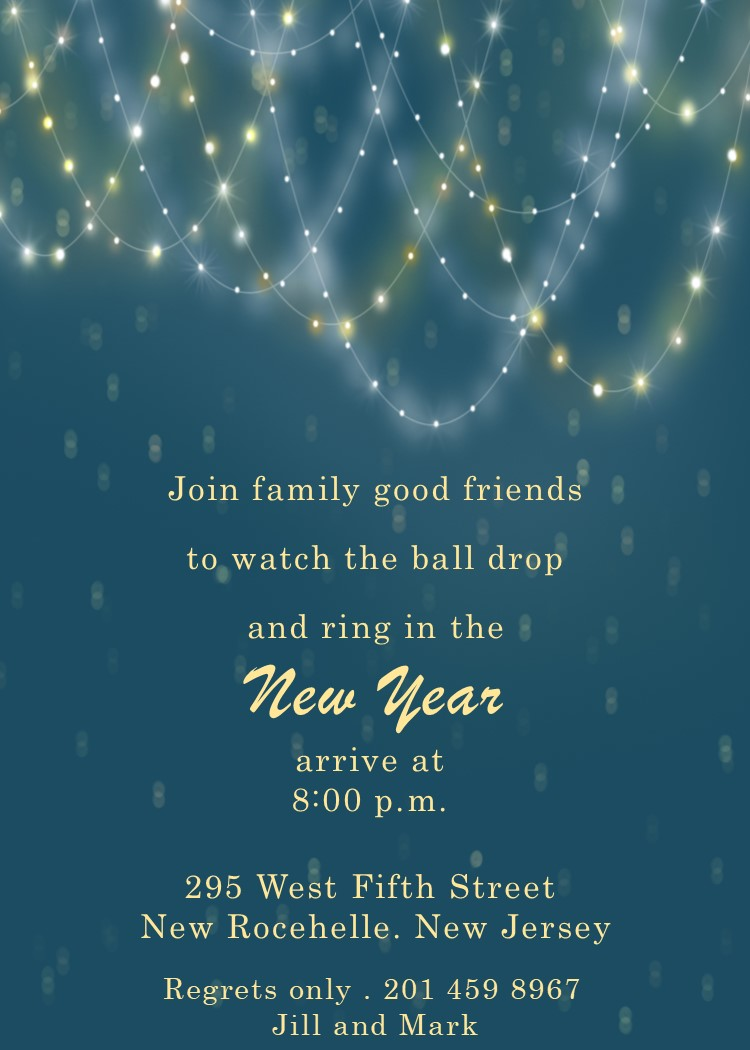 light chains new years eve party invitations