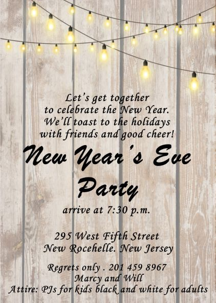 string of lights on wood new years eve party invitations