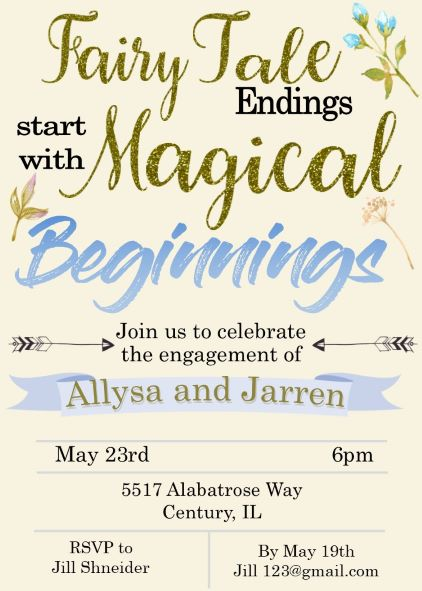 Glitter Magical beginnings fairy tale Engagement Party Invitations