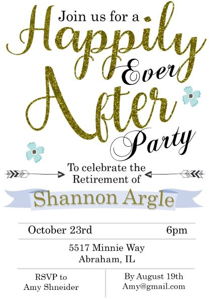 happily ever after retirement party invitations