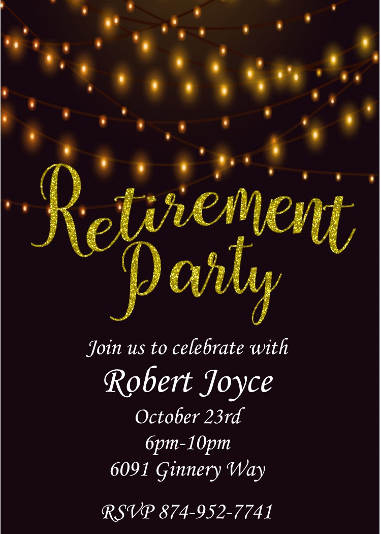 golden lights retirement party invitations
