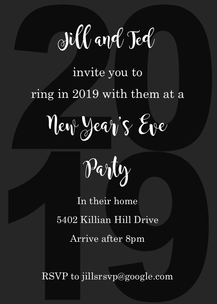 black on black 2019 new years eve party invitations