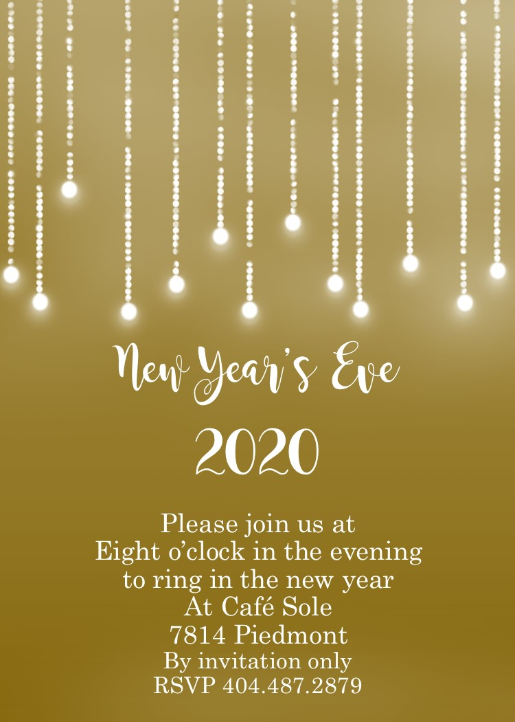 golden with string lights new years eve party invitations