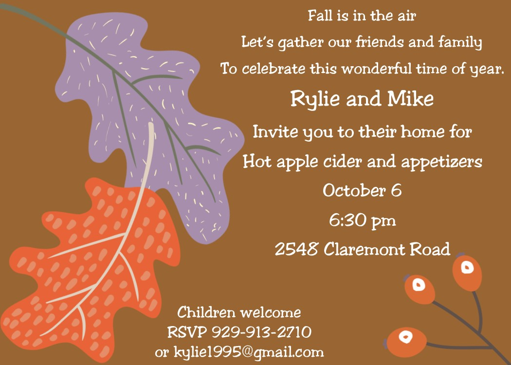 Leaves Of Two Fall Party Invitations