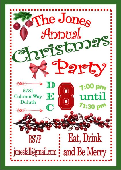 Christmas Party Invitations / New For 2018 Printed or Digital