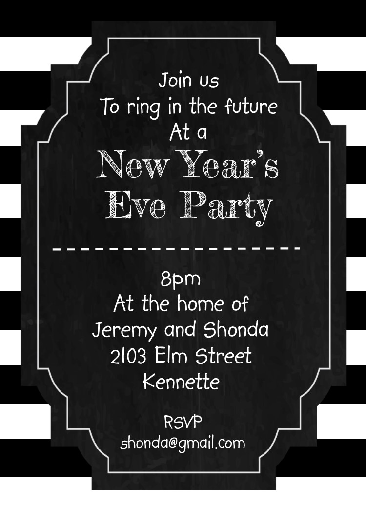 black and white stripes new years eve party invitations