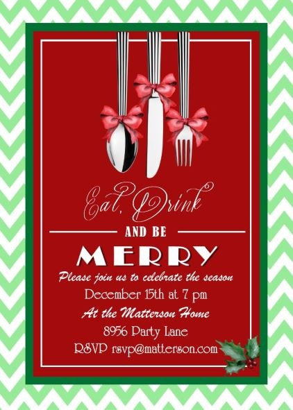 Dinner party invitations new selections winter 2018 christmas dinner party invitations eat drink and be merry silverware stopboris Image collections